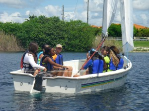 Summer Ocean STEM 9th graders sailing in Tiger Tail Lake