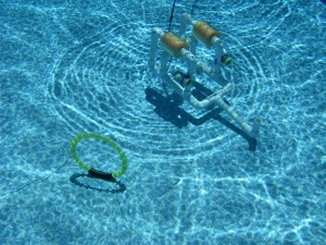 "Marine Research students testing an ROV in a pool performing a ""mission"""