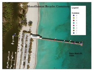 Monofilament recycling on the Dania pier. GIS map shows the location of the stations.